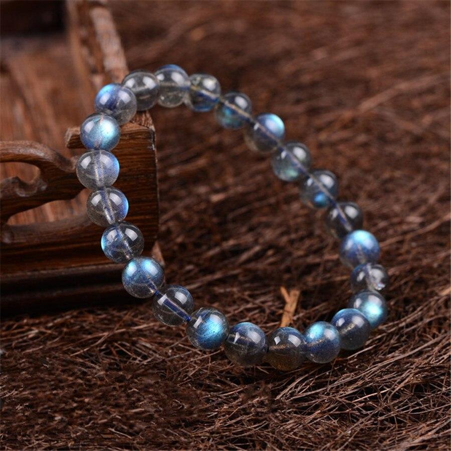8mm 9mm Véritable Naturel Gris Lumières Bleues Labradorite Cristal Rond Perle Bracelets Pour Femmes Stretch Bracelet Femme