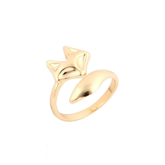 Shuangshuo 2017 New Arrival Fashion Gold Color Adjustable Cute Animal Fox Ring S