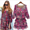 2017 Brand Spring Summer Autumn Dress 5XL Large Size Dress Women Plus Size Floral Print Chiffon