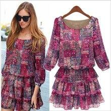 2017 Brand Summer Autumn Spring Dress 5XL Large Size Dress Women Plus Size Floral Print Chiffon Dress Lotus Cake Dress Vestidos