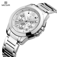 Megir Top Luxury Brand Ladies Watch Women Rose Gold Stainess Steel Quartz Watch Clock Women Girl Wristwatches Relogio Feminino