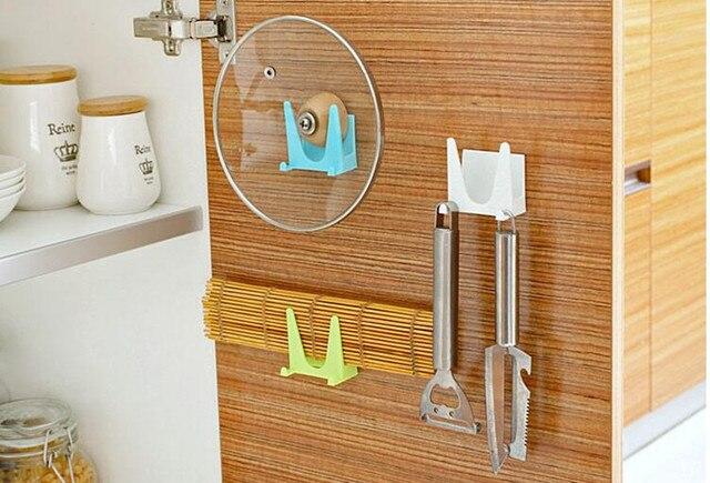 Superbe 2Pcs Wall Mounted Pot Lids Holder Cabinet Pot Pan Storage With Hook Cutting  Board Shelf