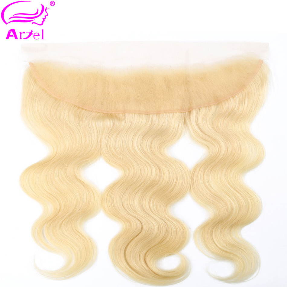Ariel Closure Lace-Frontal Human-Hair 613-Blonde Body-Wave Remy Peruvian Ear-To-Ear Three/free-Part