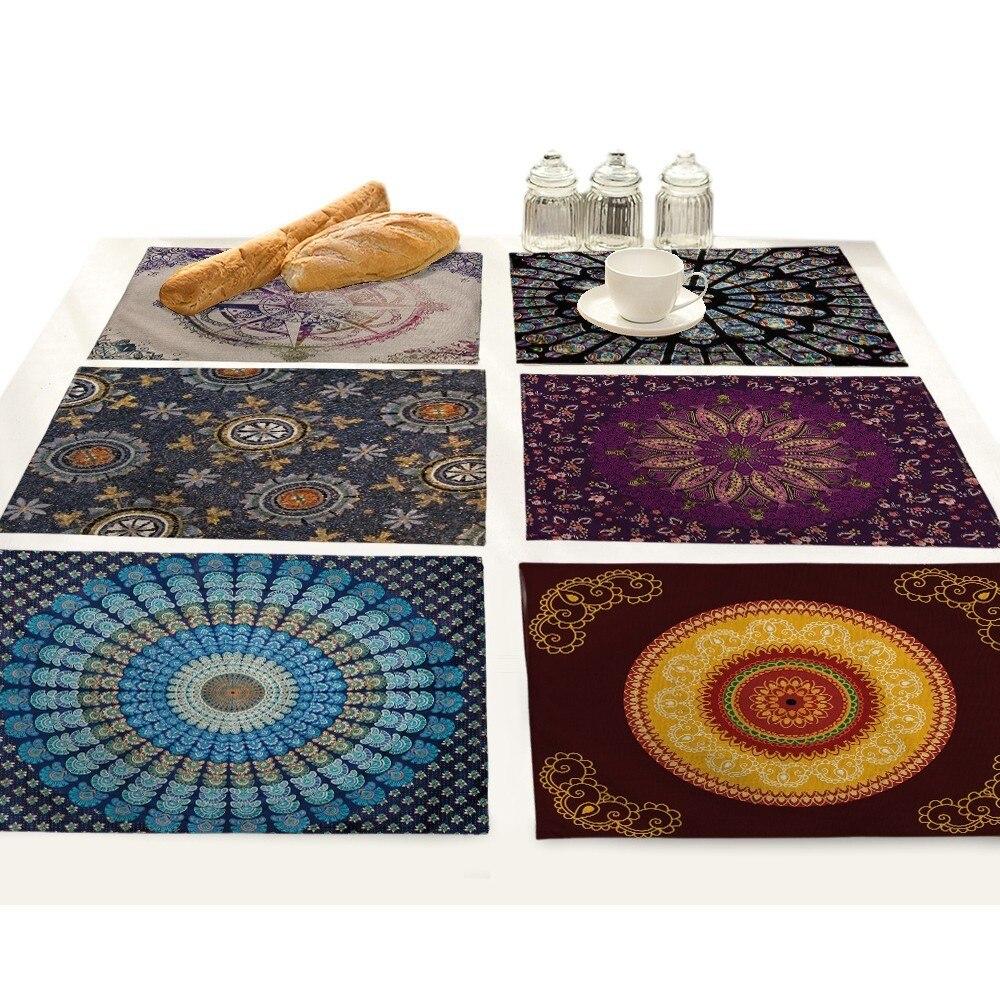 Dining Table Mats Bohemian Mandala Individual Pad Kitchen