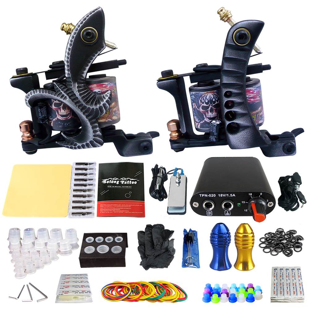 Solong Tattoo Complete 2 Coil Tattoo Machine Kit Power Supply Foot Pedal Switch Needles Set TK201-25 black red yellow blue skull design stainless steel tattoo foot pedal switch footswitch power supply