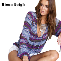 Woman Bohemian Low Cut Flower Pattern Long Sleeves Tops Large Size V Neck Female Print Shirts