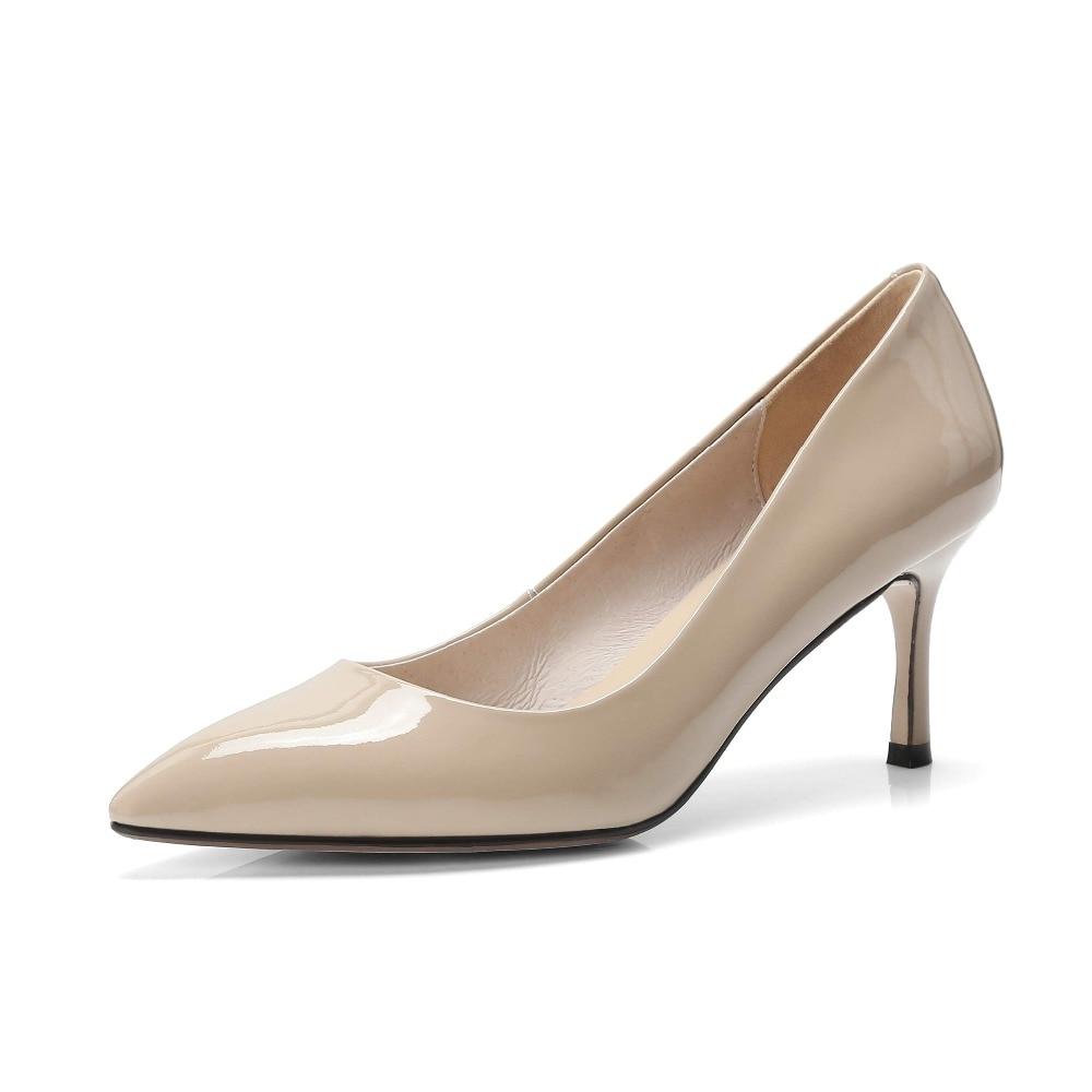 Krazing Topf 2019 schuhe frau kuh leder spitz flach high heels slip auf hochzeit schuhe büro dame aus mujer pumpen L15-in Damenpumps aus Schuhe bei  Gruppe 3