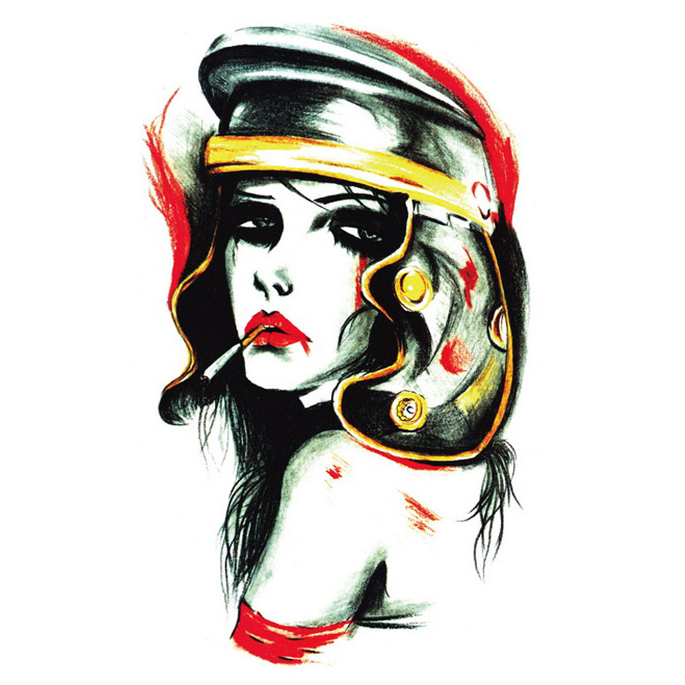 Yeeech Temporary Tattoos Sticker for Women Fake Large Sexy Rebellious Smoky Lady Designs Arm Leg School Body Art Makeup
