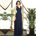 2015 A Line Bridesmaid Dresses Dark Blue Chiffon V Neck Straps Sleeveless Backless Zipper Floor length Sash Ruffle Gowns