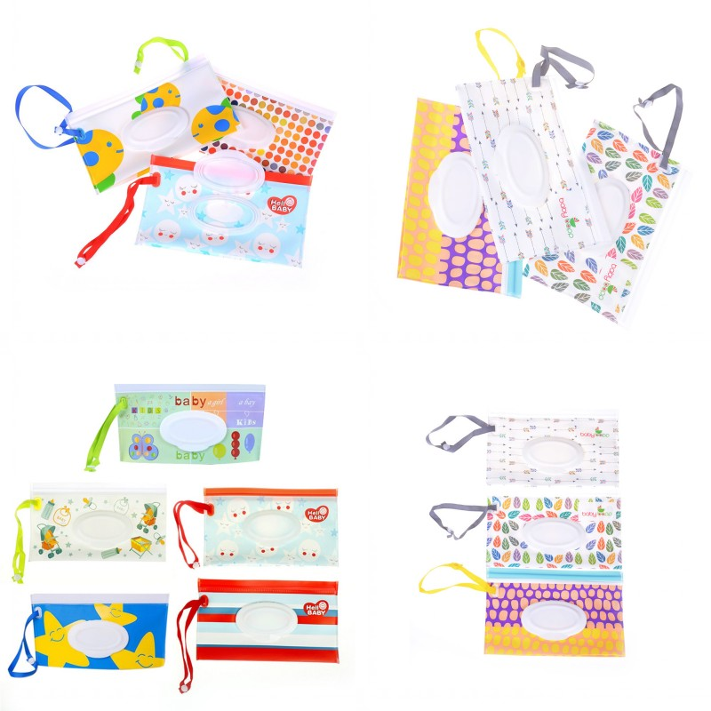 Easy-carry Snap-strap Wipes Container Clutch And Clean Wipes Carrying Case Eco-friendly Wet Wipes Bag Clamshell Cosmetic Pouch