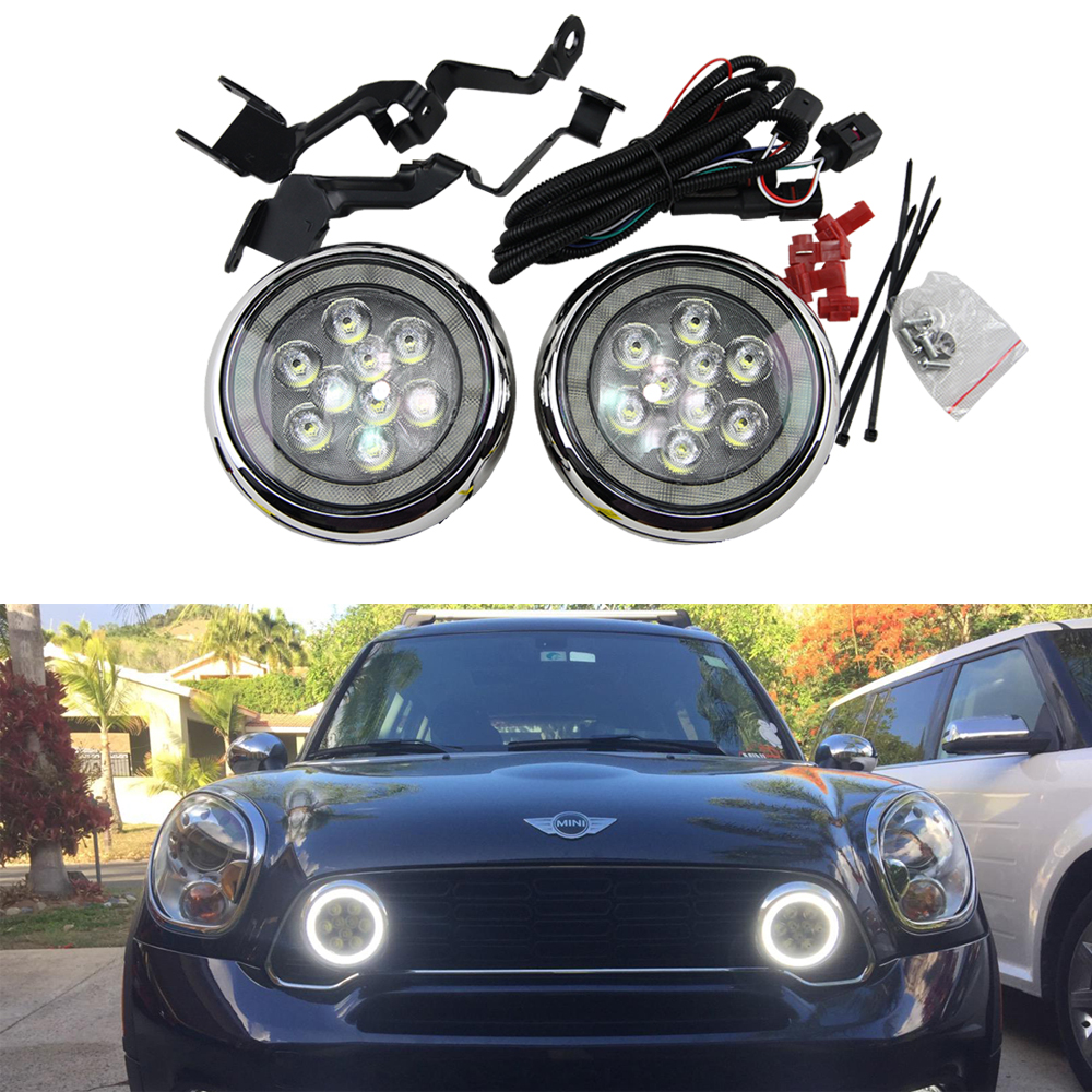 ФОТО 2x LED Halo Rally DRL Daytime Driving Light For Mini Cooper R55 R56 R57 R58 R60 12V E4 led rally light with angel eyes halo ring