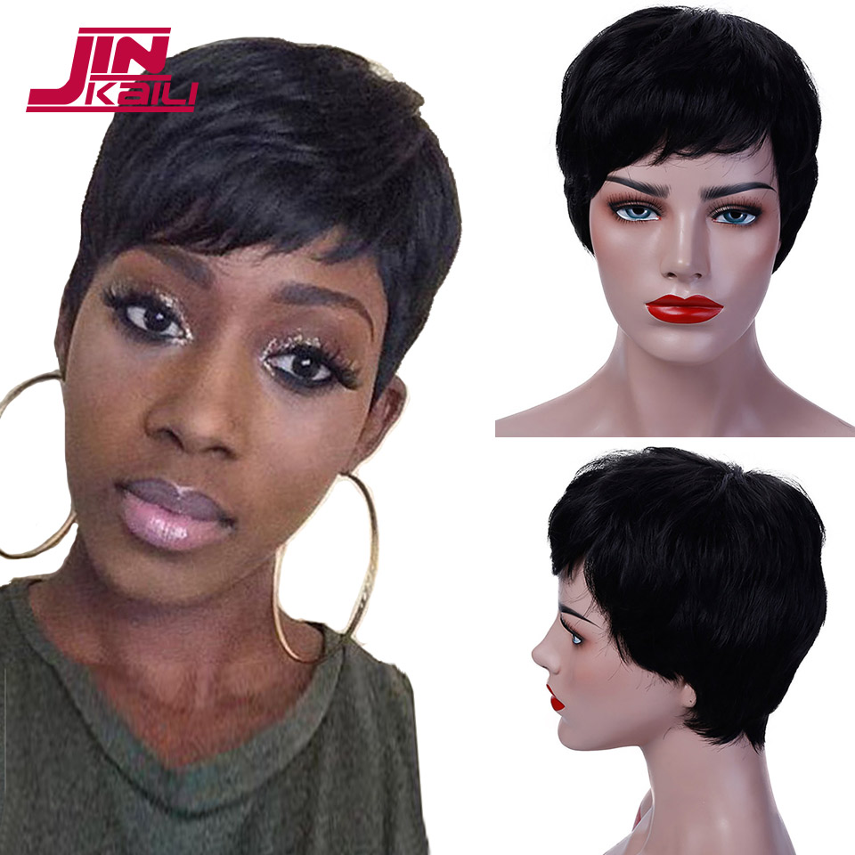 JINKAILI WIG Short Pixie Cut Wigs for Women Heat Resistant Synthetic Black Grey Hair Wigs Costume Wig