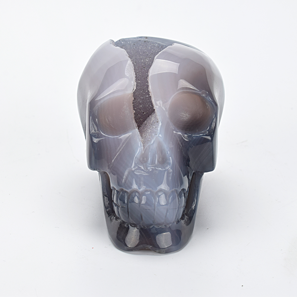 3.7 Realistic Quartz Crystal Skull Statue Carved Natural Agate Geode Healing Crystal Skull Sculpture Home Decor Art Collection3.7 Realistic Quartz Crystal Skull Statue Carved Natural Agate Geode Healing Crystal Skull Sculpture Home Decor Art Collection