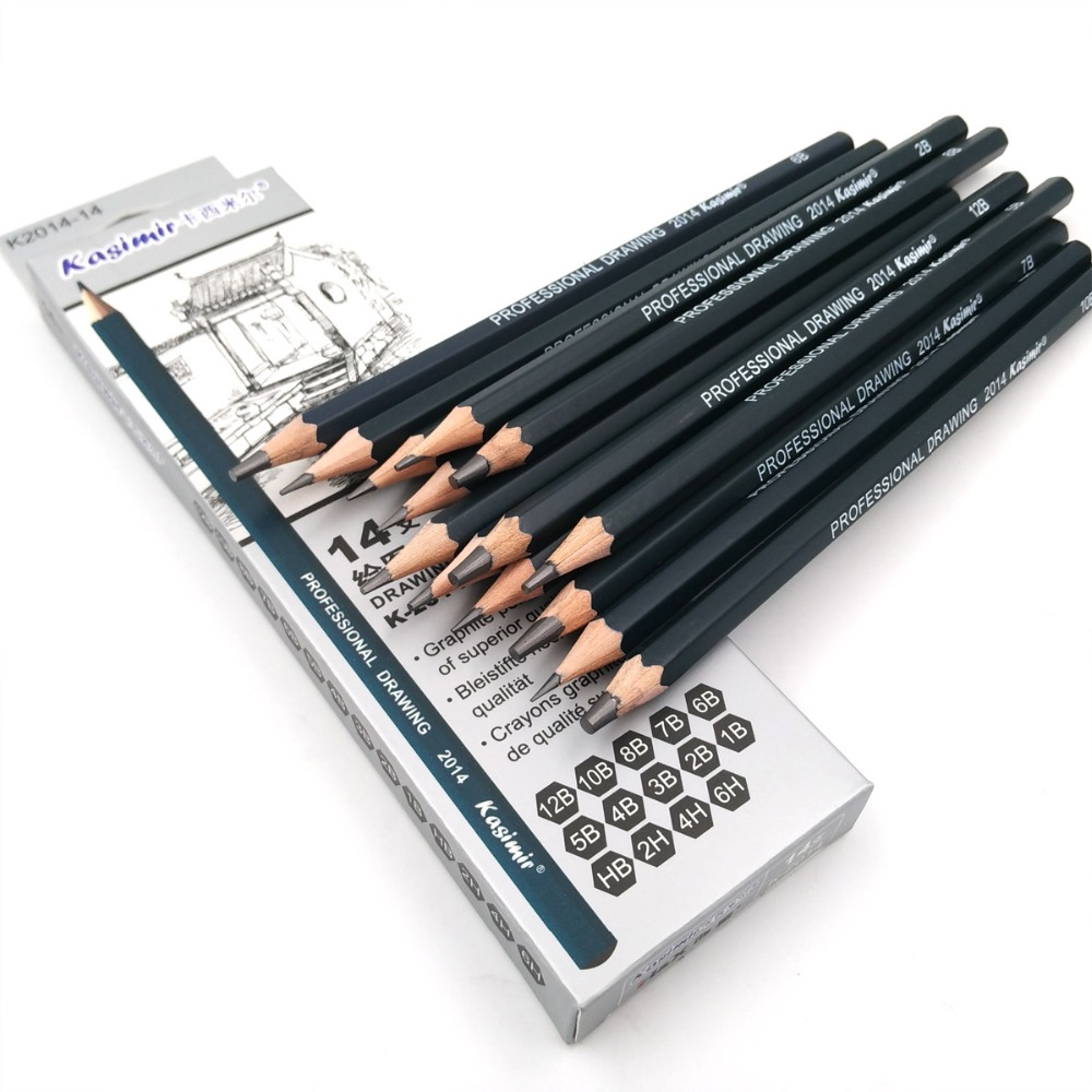 Best quality 14pcs set 12b 10b 8b 7b 6b 5b 4b 3b 2b b hb 2h 4h 6h graphite sketching pencils professional pencil set for drawing in standard pencils from