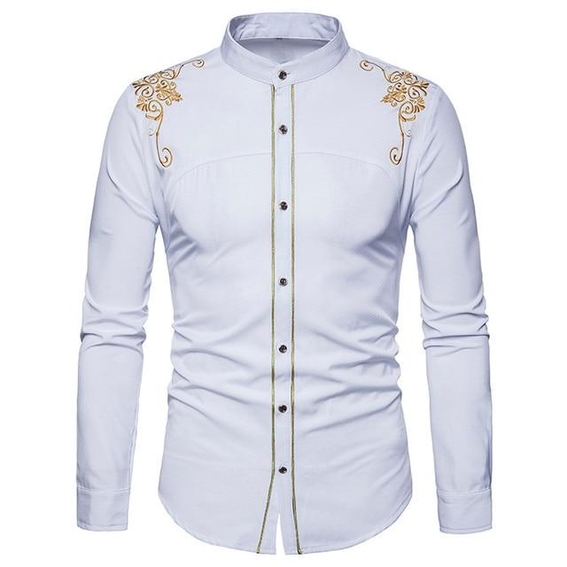 Feitong người đàn ông áo sơ mi phù hợp với cổ điển thêu xuống thời trang hipster phù hợp với dài tay áo nút tops mùa đông bông lightweiht áo sơ mi # g40