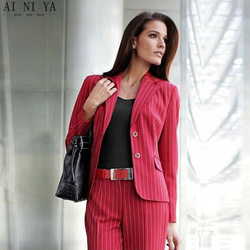 Красный в полоску комплект из 2 предметов женские формальные брюки костюмы для свадьбы женские офисные форма деловой костюм женские брючны