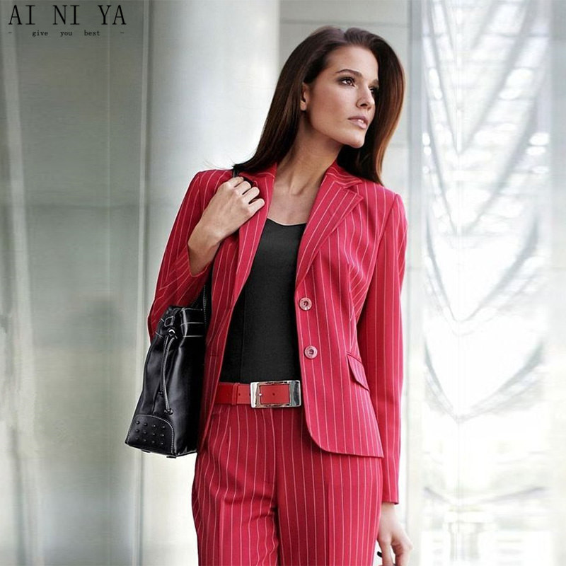 Красный Полосатый тканевый Женский комплект 2 шт. формальный брючный костюм для свадьбы женский офисный Униформа деловой костюм Дамские брючные костюмы