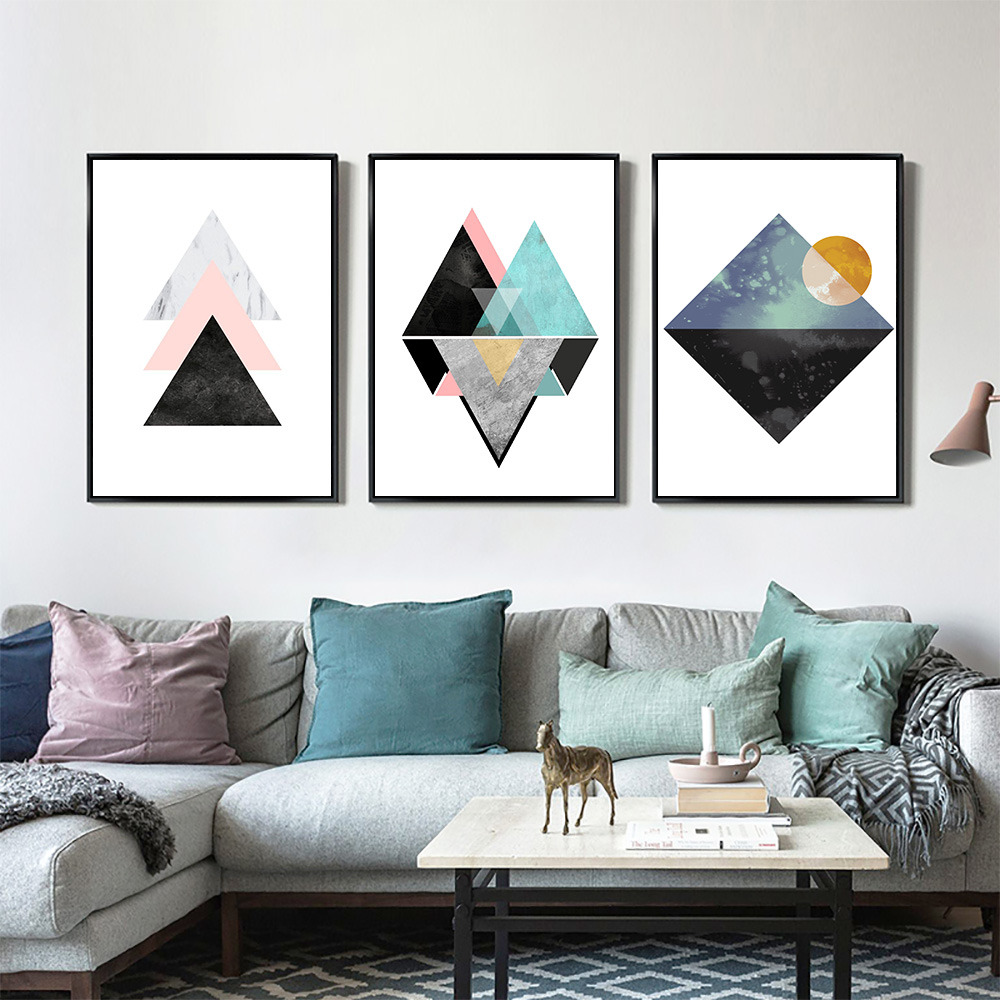 Simple Geometric Quote Canvas Painting Nordic Poster Wall Art Prints ...