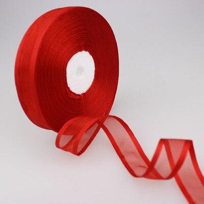 (50 ярдов/партия) 3/4 »(20 мм) Broadside красный цвет органза ленты оптовая продажа подарочная упаковка украшения ленты Оптовая продажа Новый