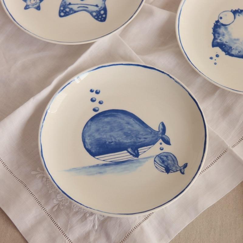 Underwater World Ping Bone Porcelain Plate Blue Ocean Based Dim Sum Dish Kitchen Utensils Western Cuisine A Steak In Dishes Plates From Home