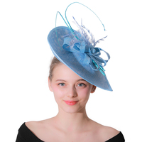 Elegant Women Summer Autumn Fedora Wedding Hats Female Fascinator Cocktail Party Headdress Church Hat Blue Net Yarn Hats Cap