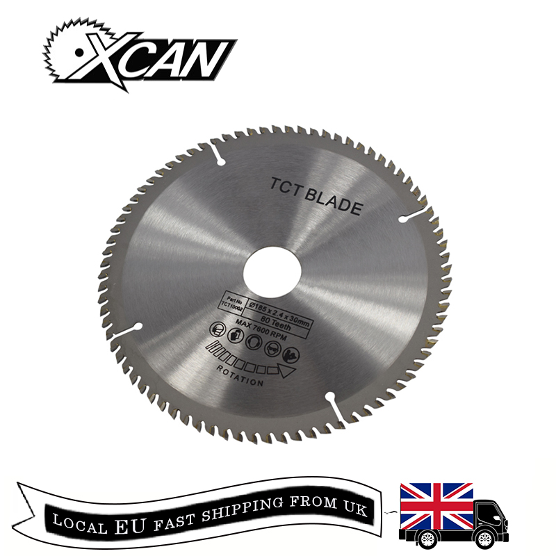 XCAN 1pc 185/210/250mm 60T/80T TCT Wood Circular Saw Blade Wood Cutting Disc Carbide TCT Saw Blade-in Saw Blades from Tools