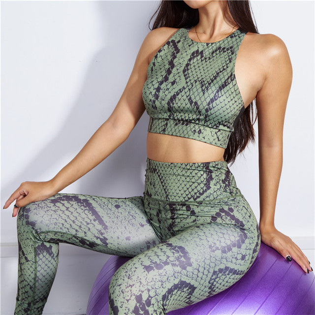 Women's Snake Skin Print Sports Crop Top and Leggings Set  S-L