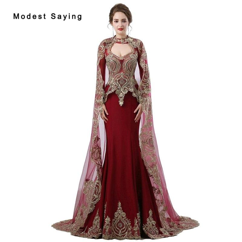 Bordeaux sirène robes de soirée avec longues Capes 2018 perlé cafatan musulman manches longues formelle or broderie robes de soirée