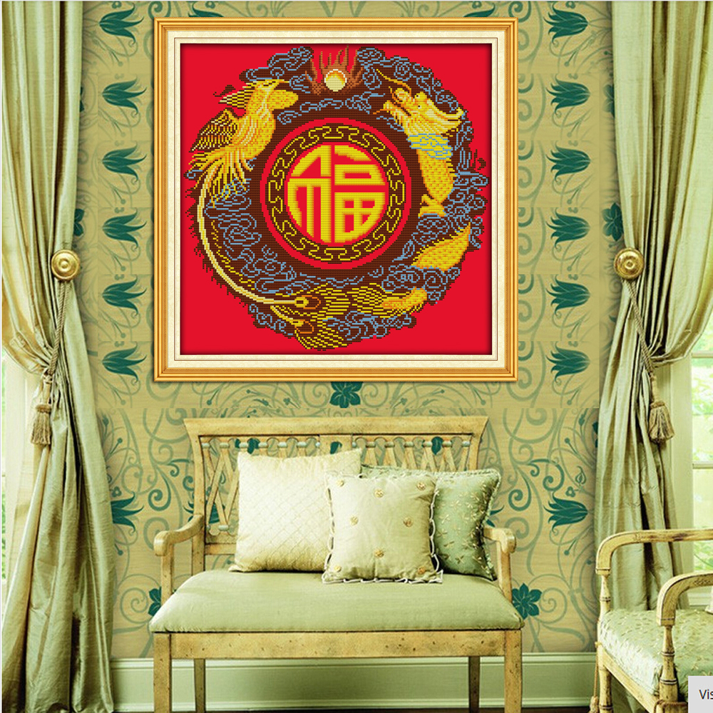 Joy Sunday Z509 Dragon And Phoenix Blessing Chinese Home Decor Needlework  Needlepoint Embroidery DIY Cross Stitch Kits  In Package From Home U0026 Garden  On ...