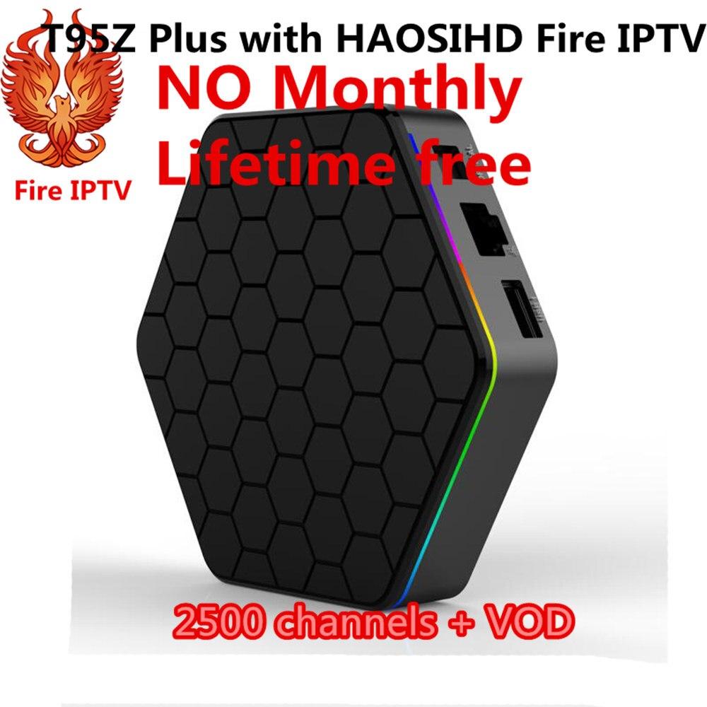 T95Z plus S912 android 7.1 tv box avec Feu IPTV 2500 Canaux Turc Allemagne Albanie Français Arabe IPTV Boîte