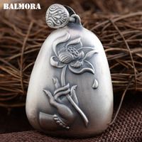 BALMORA 990 Pure Silver Vintage Hand Flower Pendants For Women Men Buddhistic Heart Sutra Jewelry Gift