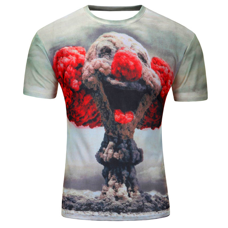 Spoof nuclear explosion smile 3D printed hip hop t shirt men 2016 hot sale American humor style men's T-shirts brand clothing image