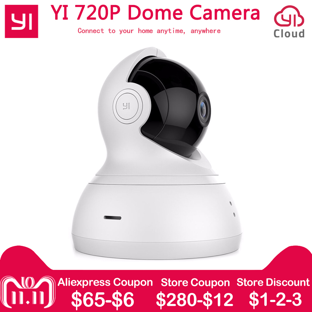 [international edition] xiaomi yi dome camera 1080p fhd 360 degree 112 wide angle pan tilt control two way audio yi dome camera [International Edition] Xiaomi YI Dome Home IP Camera 112 Wide Angle 720P 360 Two-way Voice Call Infrared Night Vision WiFi Cam