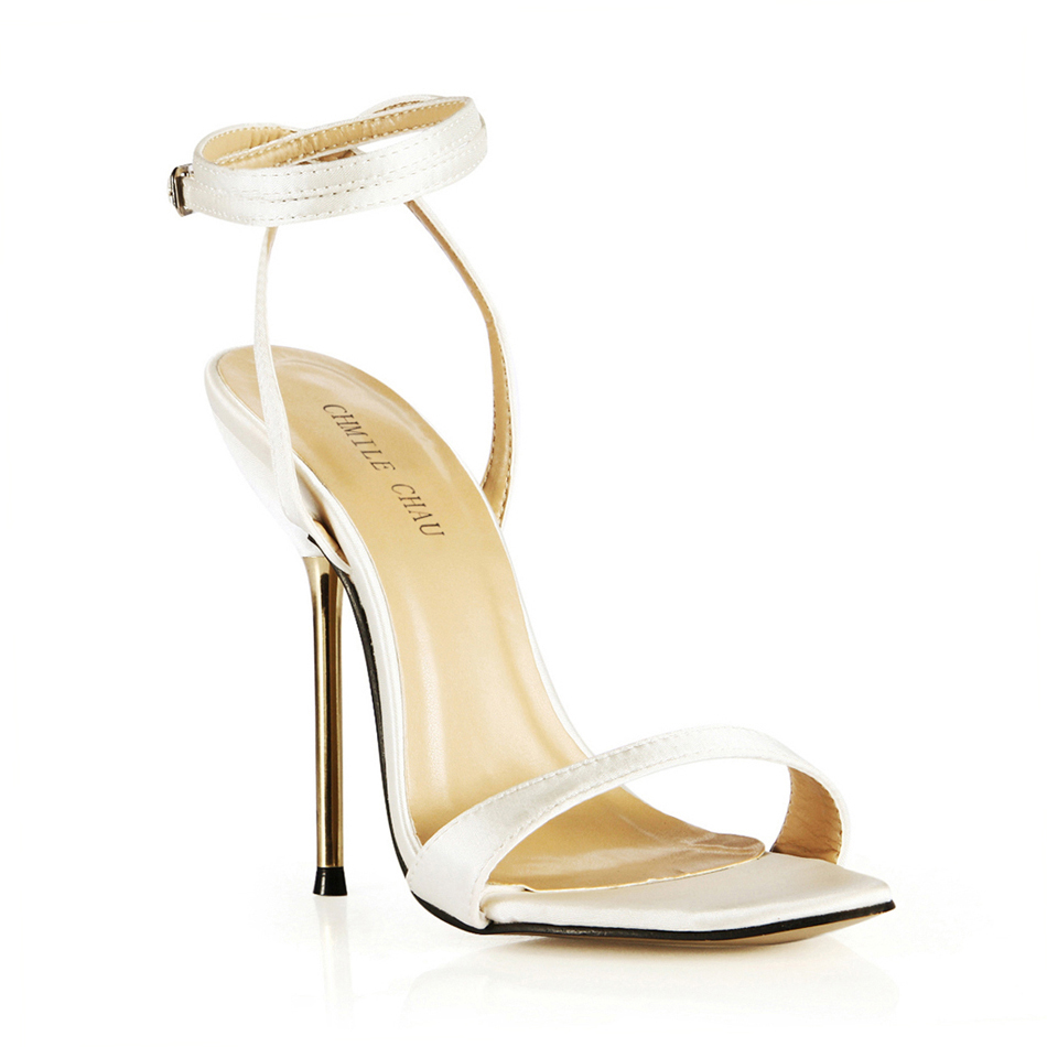 CHMILE CHAU Satin Sexy Party Shoes Women Stiletto Iron High Heels Ankle Strap Lady Sandals Plus Sizes 10 5 Zapatos Mujer 3845 i3 in High Heels from Shoes