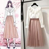 New Korean Sweet Cute Girl Skirt Two piece Set Spring Summer Fashion Casual Chiffon Shirt + Mesh Long Skirt for Women