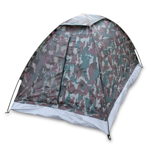 Outdoor 200 * 130 * 110cm PU1000mm Polyester  2 Person Single Layer 1.2KG Portable Camouflage Camping Hiking Tent 1~2 Persons