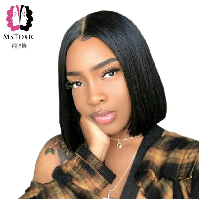 Mstoxic corto de encaje frontal de pelo humano Bob pelucas para mujeres negras de encaje recto brasileño peluca frontal 13x4 Pre pelucas de pelo Remy desplumado