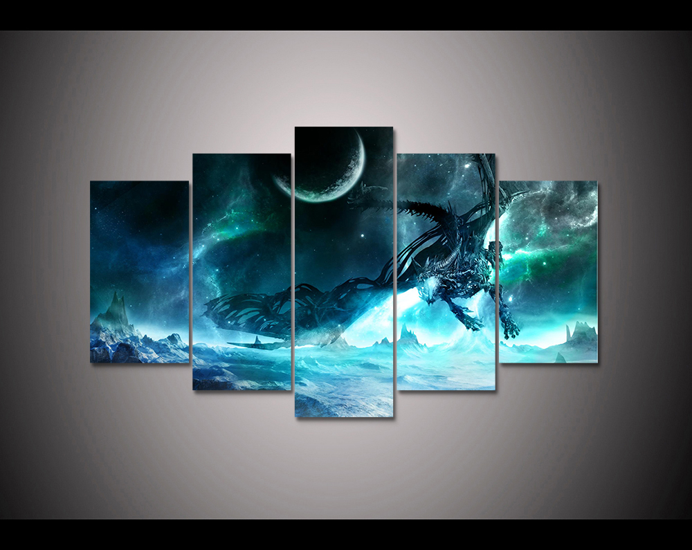 Video Game 5 Panel Hd Printed Canvas Painting World