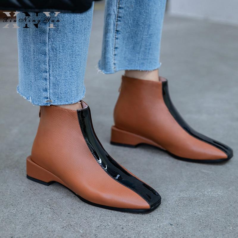 Women's Boots Women Ankle Boots Punk Autumn Winter Cow Leather Zipper Black Fashion Shoes Woman Chelsea Boots Plus Size 33-40