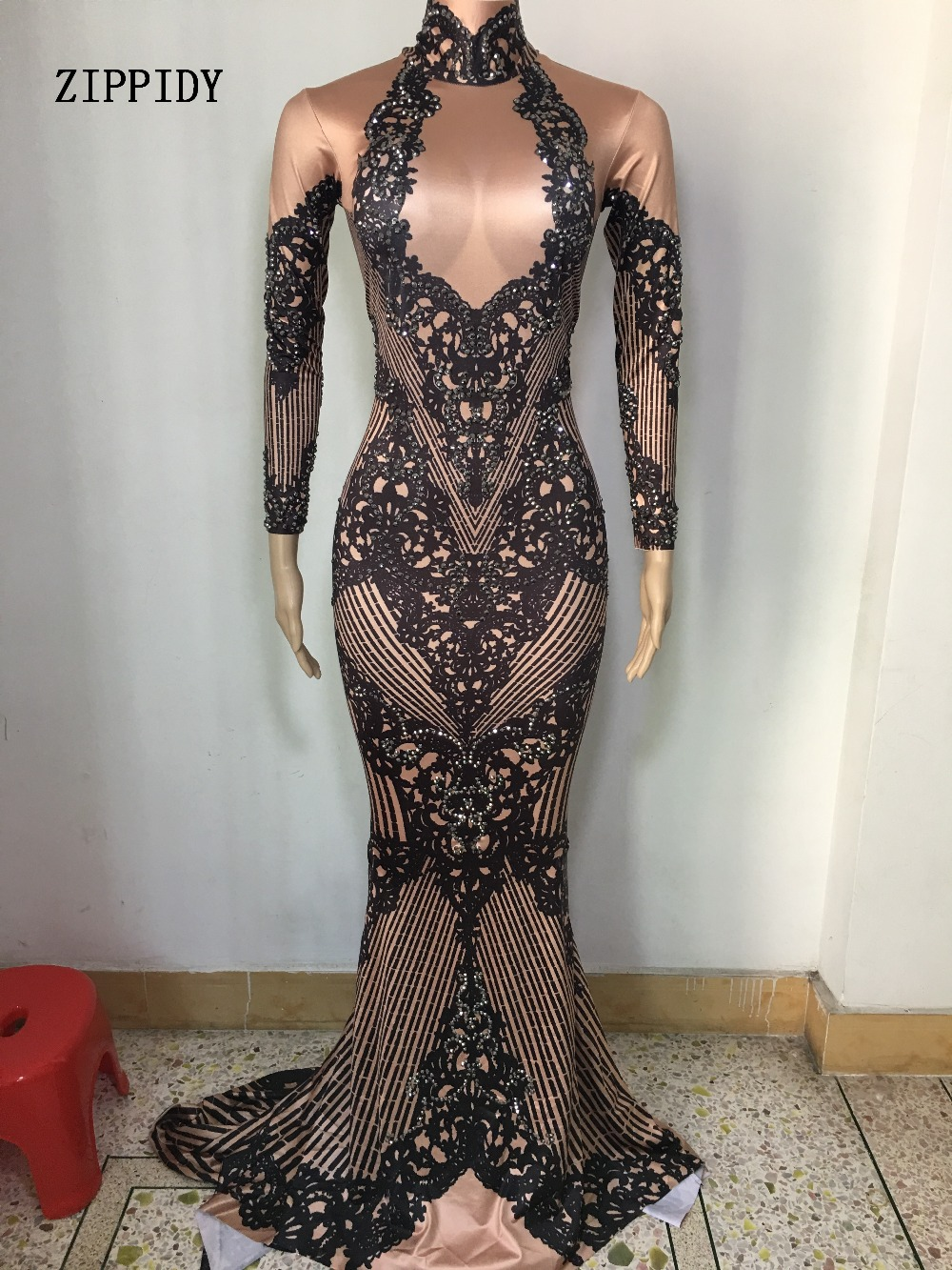 Fashion Sparkly Crystals Dress 3 Colors Evening Printed Costume Celebrate  Rhinestones Dress Birthday Long Tail Dresses-in Dresses from Women's Clothing    2