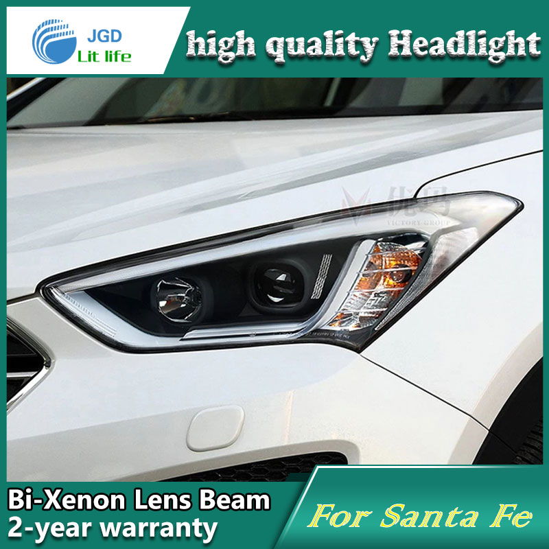 Car styling case for Hyundai Santa Fe SantaFe Headlights LED Headlight DRL Lens Double Beam HID Xenon Car Accessories hireno headlamp for 2015 2017 hyundai ix25 crete headlight headlight assembly led drl angel lens double beam hid xenon 2pcs