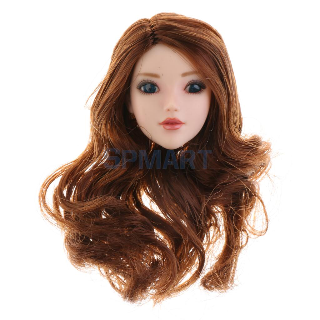 1/6 Scale Beautiful Girl Head Sculpt Brown Curly Long Hair Head Model Toy for 12 Action Figure Female Body Hot Toys Accessory