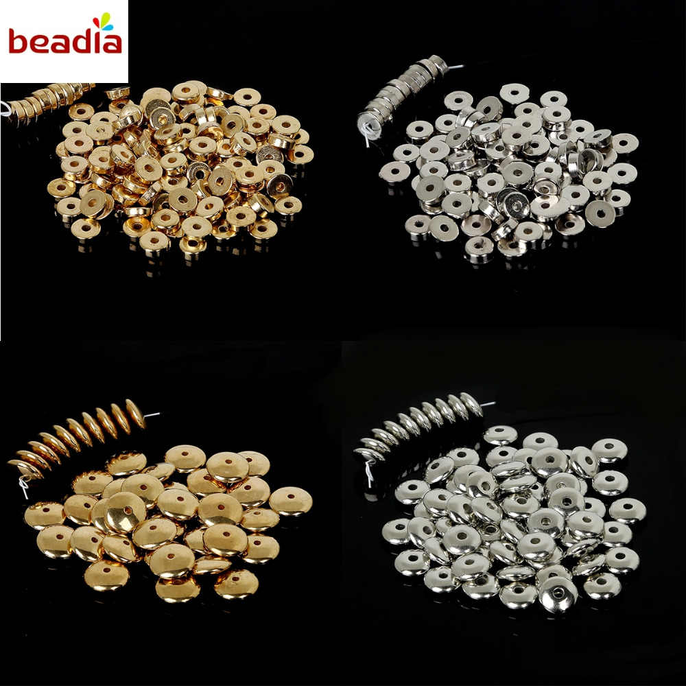 100-500pcs Plastic CCB Loose Beads Gold/Rhodium Plated Tiny Ring Spacer Beads for DIY Bracelet Jewelry Findings Necklace Making