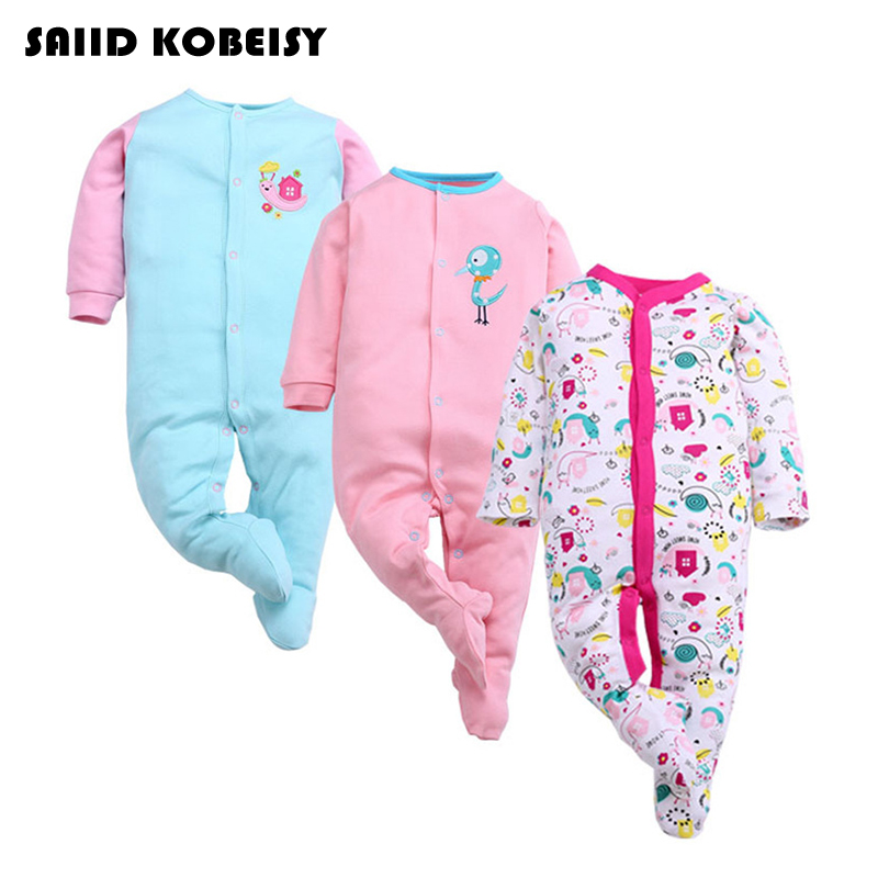 [SAIID KOBEISY] 3Pcs/Lot Newborn Baby Clothing Baby Girls Boys Rompers Infant Spring Autumn Jumpsuit 2017 Long Sleeve Clothes baby boys girls clothes newborn rompers carton infant cotton long sleeve jumpsuits kids spring autumn clothing jumpsuit romper