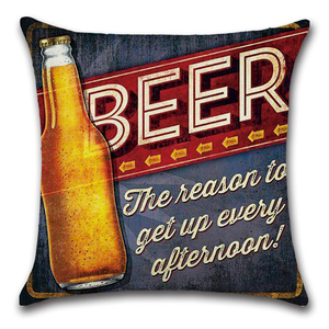 Image 4 - Cartoon Anime Letter Cushion Cover Set British Retro Beer Bottle Printing Linen Pillowcase Car Sofa Bar Farmhouse Home Decor