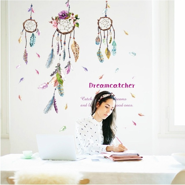 Wind Chime Feather Wall Stickers For Bed Room Home Decoration Background Decal Pvc Plane Pattern Mural Door Diy Wallpaper Sale