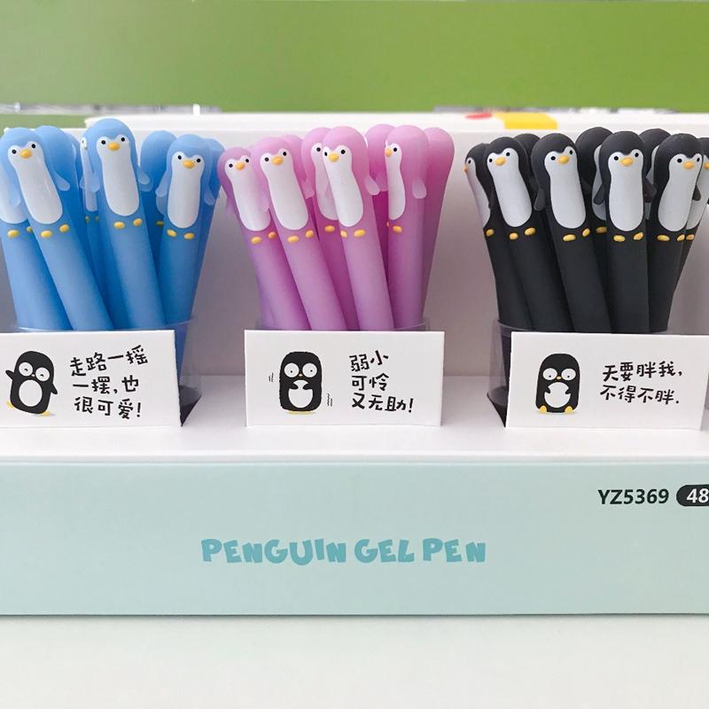 Kawaii-Penguin-Silicone-Gel-Pen-Rollerball-Pen-Writing-Pen-Student-Stationery-School-Office-Supply-Black-0 (1)