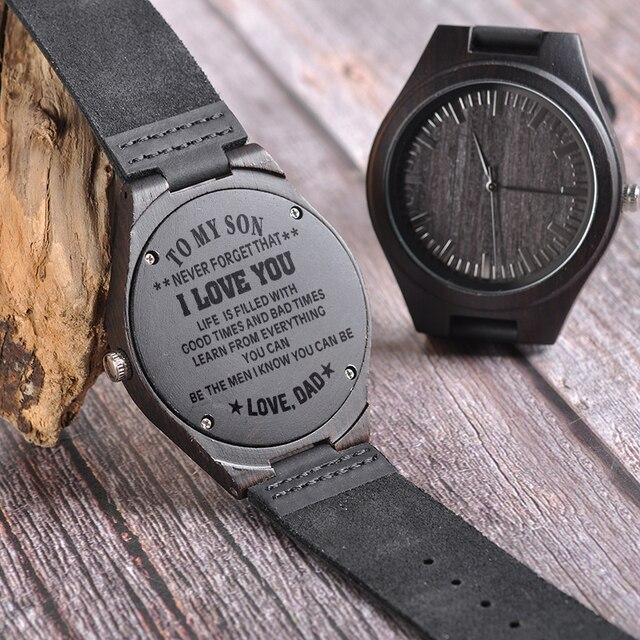 BOBO PÁSSARO Gravura Relógios Homens Presentes Da Família para o Filho PAI MÃE Mulheres De Quartzo relógio de Pulso dos homens do logotipo para o Namorado Gravar logotipo D26