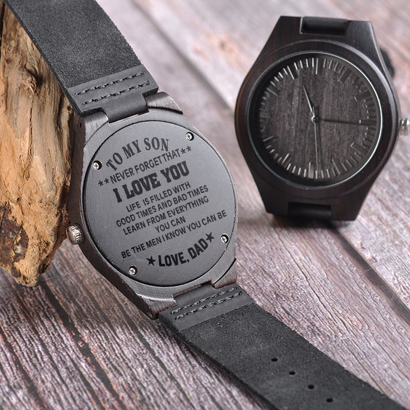 BOBO VOGEL Gravur Männer Uhren Familie Geschenke für Sohn DAD MOM männer Quarz Frauen Armbanduhr logo für Freund Gravieren logo D26