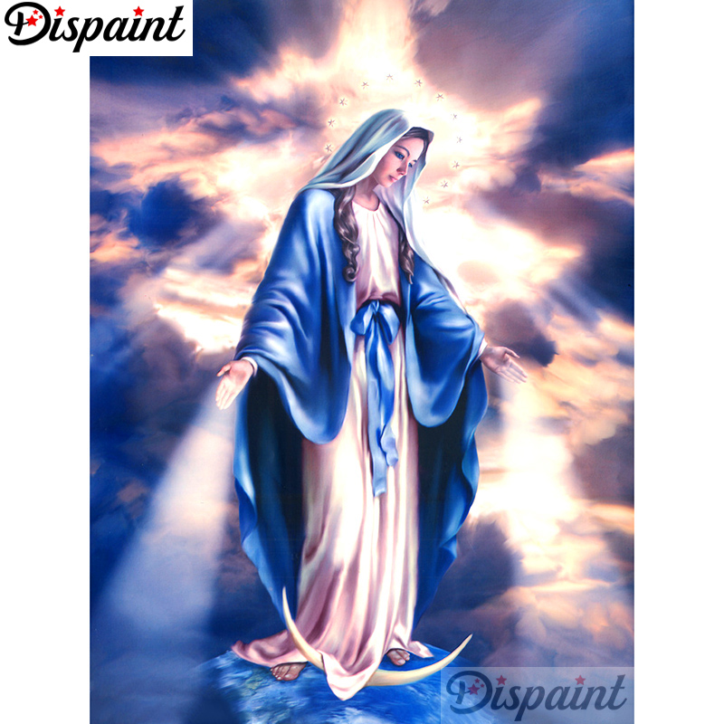 Dispaint Full Square Round Drill 5D DIY Diamond Painting quot Religious woman quot Embroidery Cross Stitch 3D Home Decor A11031 in Diamond Painting Cross Stitch from Home amp Garden